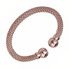 9mm Mesh Design Cuff Bangle Bracelet in Rose Gold Over Sterling Silver