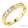 8-Stone Channel-Set Round-Cut CZ Wedding Band in 14K Yellow Gold