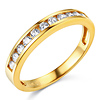 11 Channel-Set Round-Cut CZ Wedding Band in 14K Yellow Gold 0.35ctw equiv
