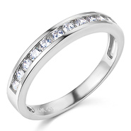 11 stone channel set round cz wedding band in 14k white gold 035ctw - Cubic Zirconia Wedding Rings That Look Real