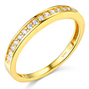 17-Stone Pave-Set Round-Cut CZ Wedding Band in 14K Yellow Gold 0.2ctw