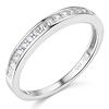 17-Stone Pave-Set Round-Cut CZ Wedding Band in 14K White Gold 0.2ctw