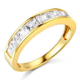 8-Stone Channel Princess CZ Wedding Band in 14K Yellow Gold 1.3ctw