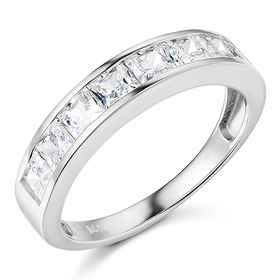 8-Stone Channel Princess CZ Wedding Band in 14K White Gold 1.3ctw