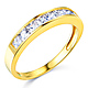 8-Stone Princess-Cut Channel-Set CZ Wedding Band in 14K Yellow Gold 0.75ctw thumb 0