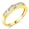 8-Stone Princess-Cut Channel-Set CZ Wedding Band in 14K Yellow Gold 0.75ctw