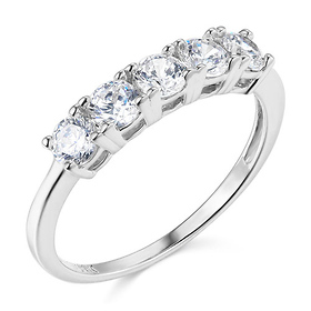 5-Stone Basket Prong Round-Cut CZ Wedding Band in 14K White Gold - 1.1ctw