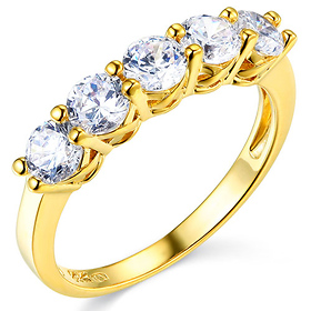 5-Stone Trellis Prong-Set Round CZ Wedding Band in 14K Yellow Gold