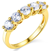 5-Stone Trellis Prong-Set Round CZ Wedding Band in 14K Yellow Gold 1.85ctw