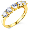 3mm Trellis Prong Round CZ Wedding Band in 14K Yellow Gold