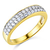 Two-Row Pave Round CZ Wedding Band in Two-Tone 14K Yellow Gold 0.45ctw