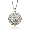 DecoSkye Flowers & Hearts CZ Round Pendant Sterling Silver Necklace