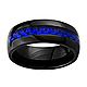 Dome Ceramic Wedding Band Ring with Blue Carbon Fiber Inlay 8mm - Men thumb 0