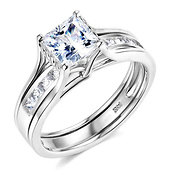 14K White Gold Princess Cut CZ Solitaire Engagement Ring Set