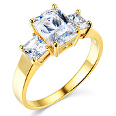 3-Stone Basket Radiant & Princess-Cut CZ Engagement Ring in 14K Yellow Gold