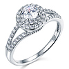 14K White Gold Round-Cut Split Shank Halo CZ Engagement Ring