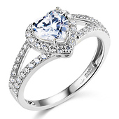 Split Shank Halo 1-CT Heart-Cut CZ Engagement Ring in 14K White Gold
