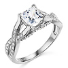 Woven Trellis 1-CT Princess-Cut CZ Engagement Ring in 14K White Gold