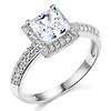 Halo Knife-Edge 1-CT Princess-Cut CZ Engagement Ring in 14K White Gold
