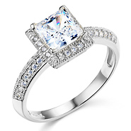 halo knife edge 1 ct princess cut cz engagement ring in 14k white - White Gold Cubic Zirconia Wedding Rings