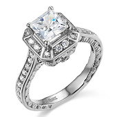 14K White Gold Halo Princess Cut CZ Engagement Ring - Antique Style