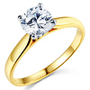 Cathedral Solitaire 1-CT Round-Cut CZ Engagement Ring in 14K Yellow Gold