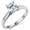 Cathedral Solitaire 1-CT Round-Cut CZ Engagement Ring in 14K White Gold