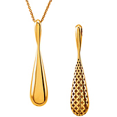 14K Yellow Gold Chic Reversible Teardrop Necklace - Women 18in