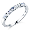Round & Baguette-Cut CZ Wedding Ring Band in 14K White Gold 0.25ctw