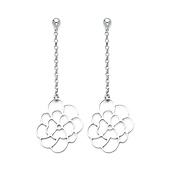 Open-Cut Flower Dangling Sterling Silver Earrings 57mm
