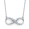 Floating CZ Infinity Pendant Necklace in 14K White Gold