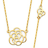 Romantic Floating Rose Charm Necklace - 14K Yellow Gold