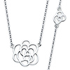 Romantic Floating Rose Charm Necklace in 14K White Gold