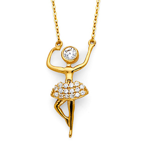 14K Yellow Gold Floating CZ Pirouetting Ballerina Necklace
