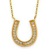 14K Yellow Gold Floating CZ Horseshoe Necklace