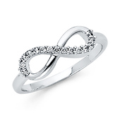 Semi-Lined CZ Sterling Silver Infinity Ring