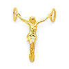 Petite Floating Jesus Body Crucifix Pendant in 14K Yellow Gold