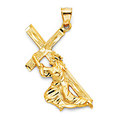 Large Jesus Carrying Cross Crucifix Pendant in 14K Yellow Gold