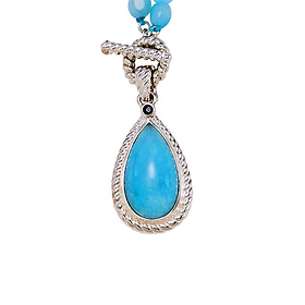 Sterling Silver Pear Cabochon Genuine Milky Aquamarine Necklace with Sapphire Accent