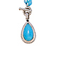 Sterling Silver Pear Cabochon Genuine Milky Aquamarine Necklace with Sapphire Accent thumb 0