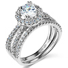 Reverse Split Shank Pave Halo 1-CT Round CZ Wedding Ring Set in 14K White Gold