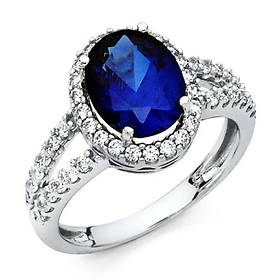 Split Shank Halo Oval Blue CZ Promise Engagement Ring in 14K White Gold
