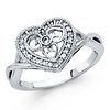 Woven Cubic Zirconia CZ-Lined Open Heart Ring in 14K White Gold