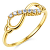 Sparkling Semi-Lined CZ Infinity Ring in  14K Yellow Gold