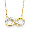 Faceted Hollow 14K Two Tone Gold Infinity Necklace