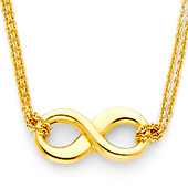 Double Strand 14K Yellow Gold Infinity Necklace