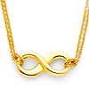 Double Strand Hollow 14K Yellow Gold Infinity Necklace