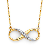 Floating Semi-Lined CZ Infinity Necklace - 14K Yellow Gold