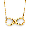 Classic Floating Infinity Pendant 14K Yellow Gold Necklace