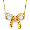 14K Yellow Gold CZ Floating Ribbon Bow Necklace
